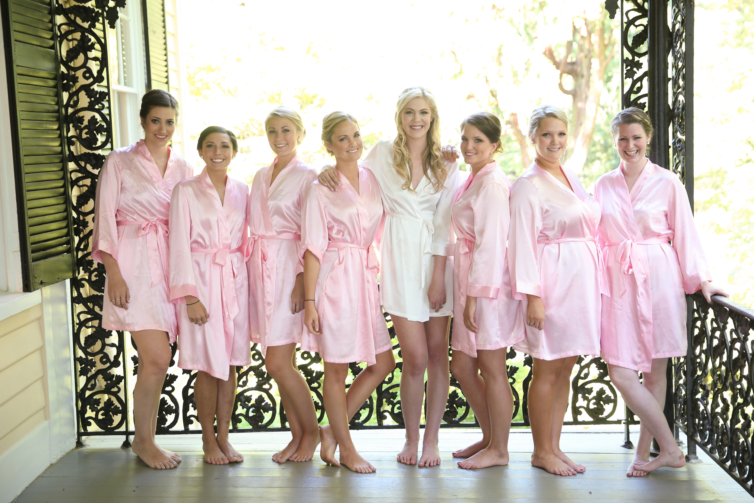 Bridesmaids before Lace House wedding ceremony by Jolie Connor Photography