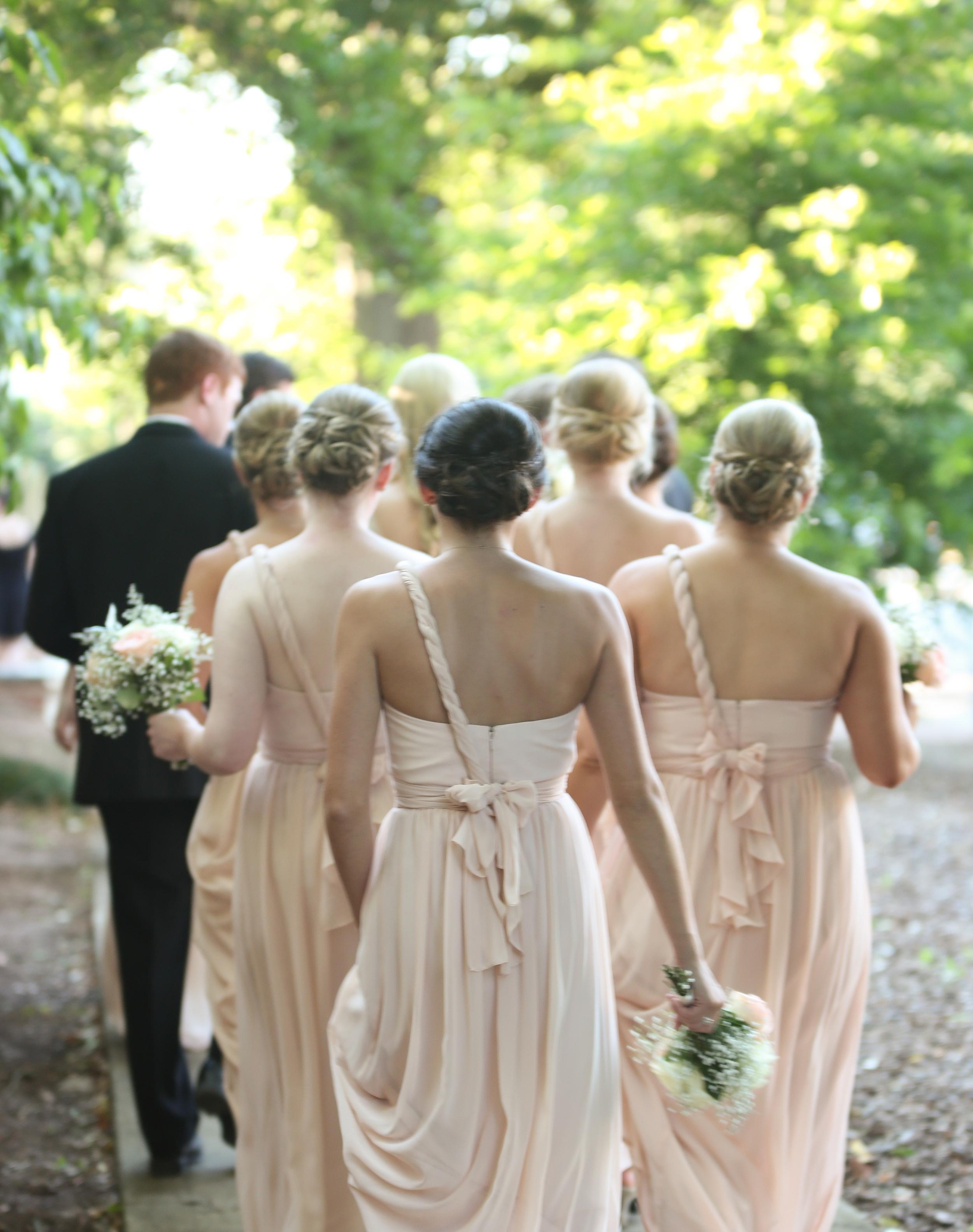 Bridesmaids in pale pink at Columbia SC wedding