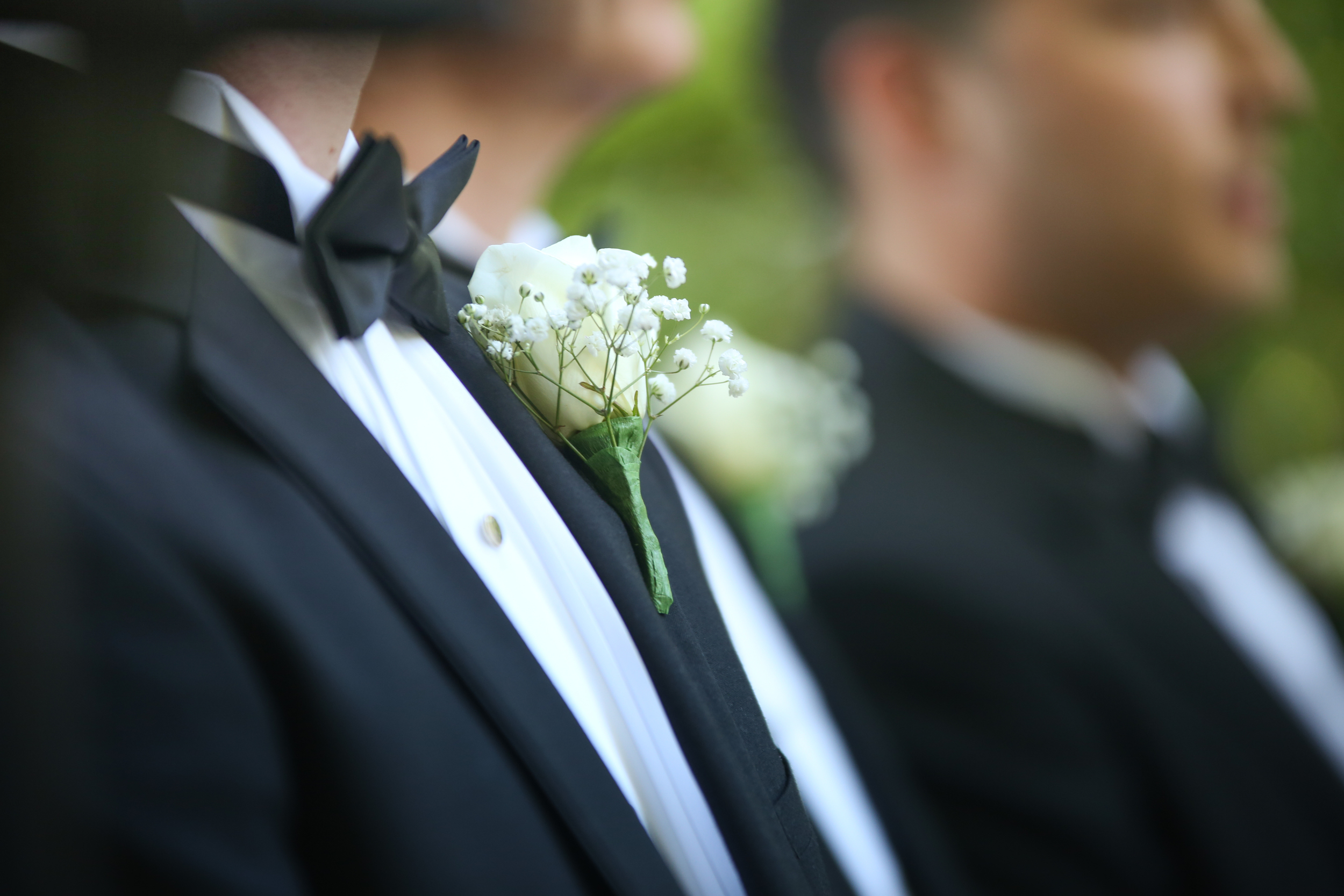 Baby's Breathe boutonniere at Columbia SC wedding