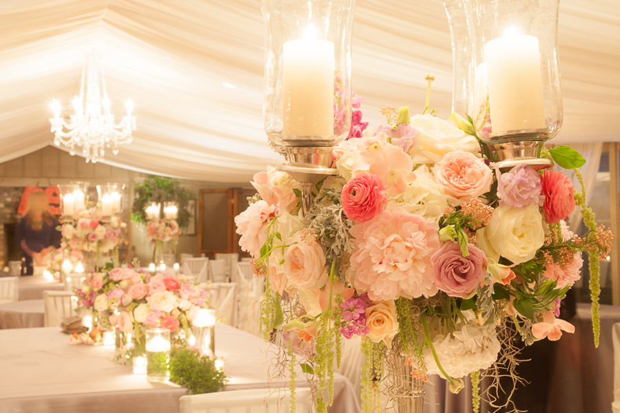 Pink Middleton Place Wedding Reception decor by Engaging Events