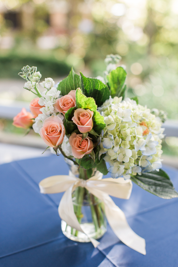 Blue Hydrangea Centerpieces at Creek Club at I'On wedding in Charleston, SC by Alyona Photography