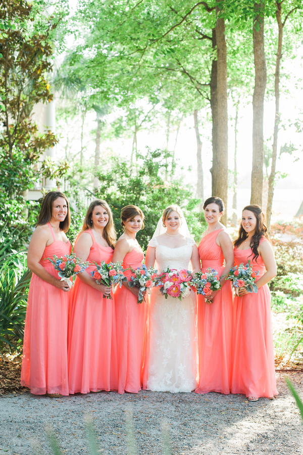 Coral Bridesmaids dresses at Creek Club at I'On wedding in Charleston, SC by Alyona Photography