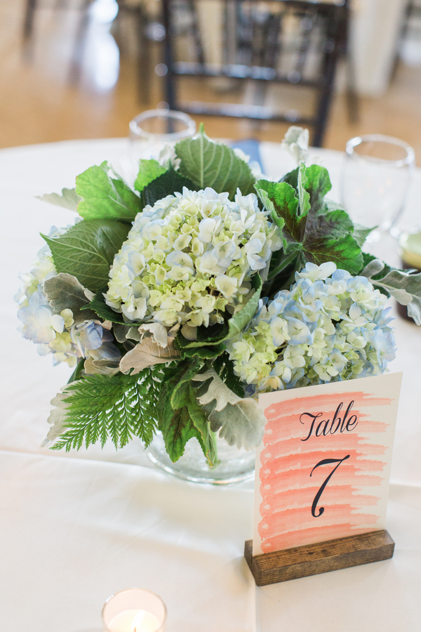 Blue Hydrangea Centerpieces at Creek Club at I'On wedding