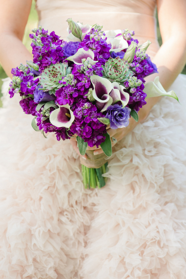 Purple Charleston wedding bouquet by Wildflowers Inc by Priscilla Thomas Photography