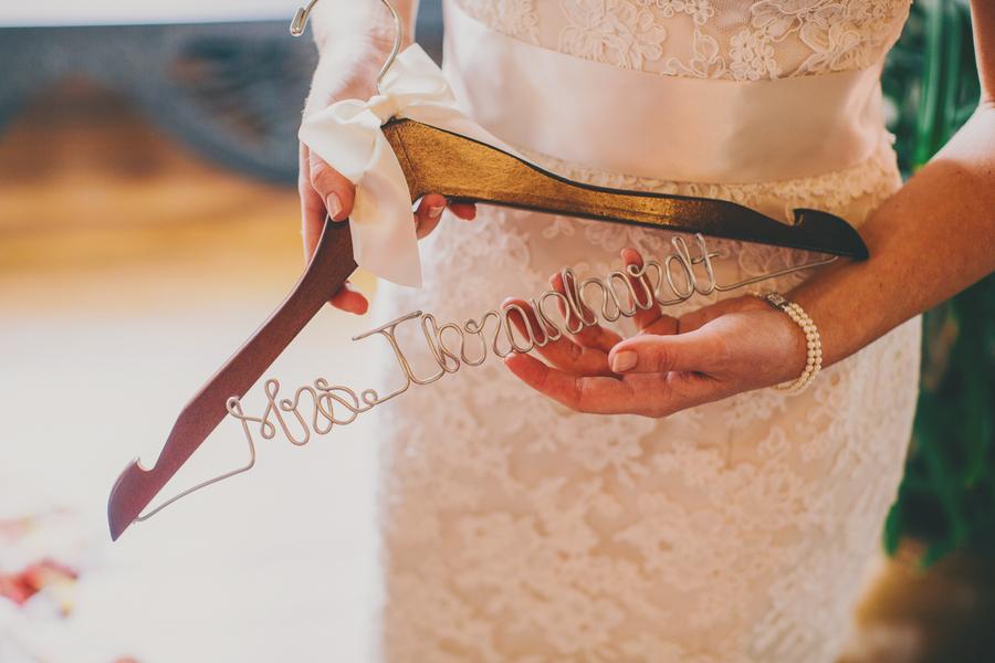Custom wedding dress hanger at Thomas Bennett House in Charleston, SC by Hyer Images