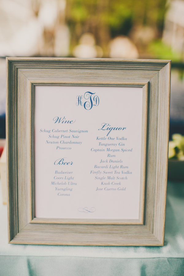 Bar Menu at Thomas Bennett House wedding in Charleston, Sc by Hyer Images