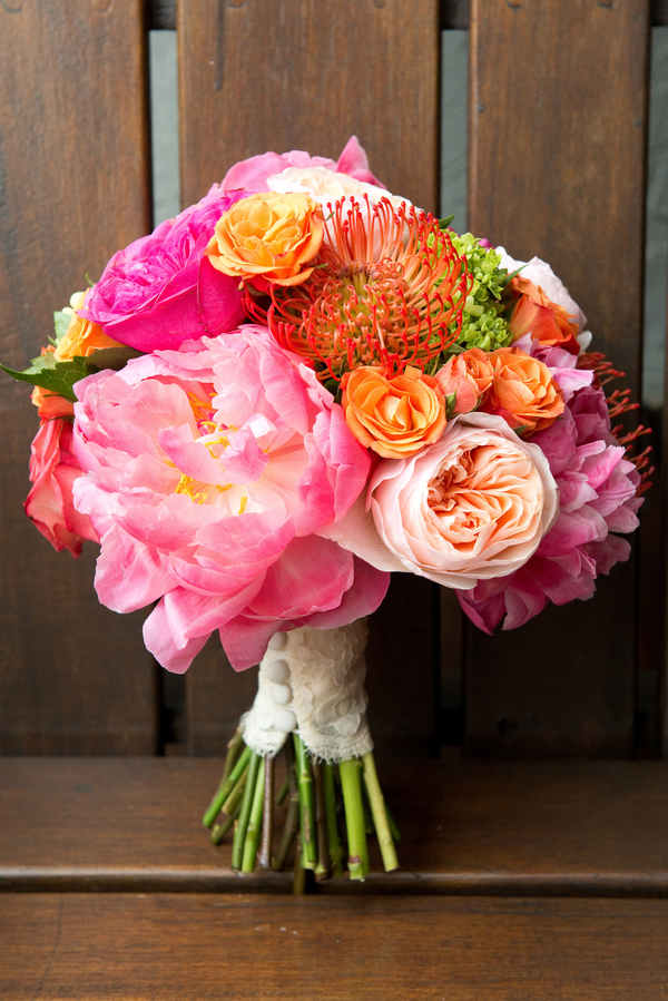 Pink Peony & Protea Wedding Bouquet by Charleston Flower Market