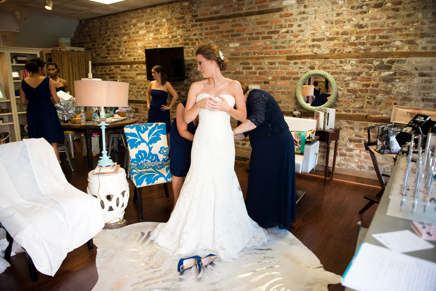 Bridal Party at Pink Dot Beauty Bar for Charleston wedding Hair and Makeup