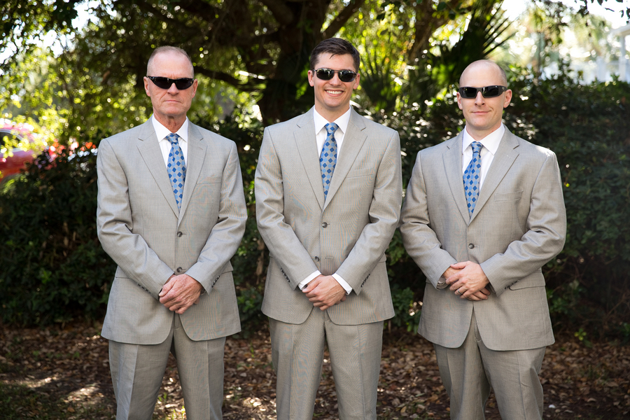 Grey suites and light blue ties at Citadel Beach House wedding in Charleston, SC