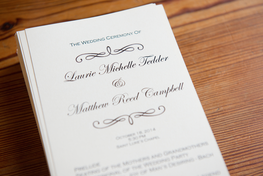 Charleston wedding programs by Reese Moore at St. Luke's Chapel