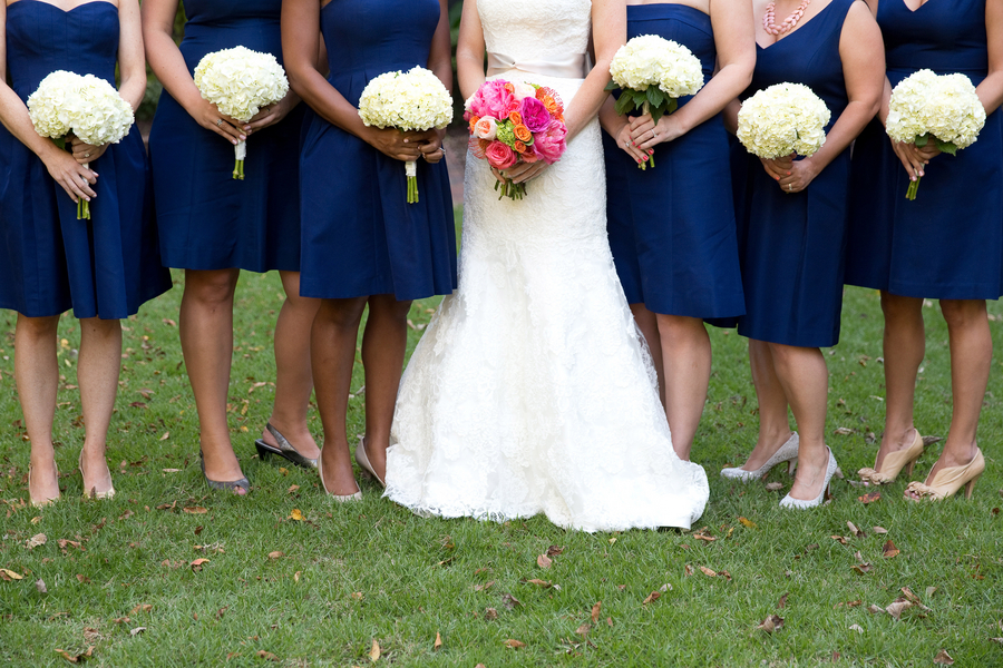 Navy Blue J. Crew bridesmaids dresses at St. Luke's Chapel wedding ceremony in Charleston, SC