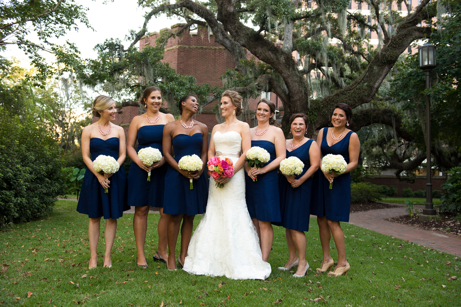 Navy blue bridesmaids at Citadel Beach House wedding in Charleston, SC