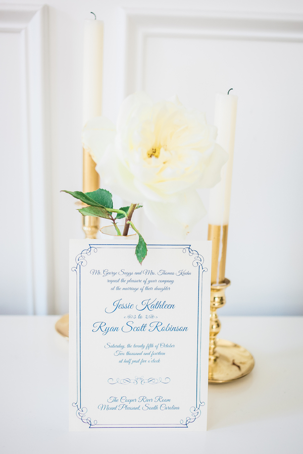 White rose centerpiece at Charleston wedding at Cooper River Room by Judy Nunez Photography