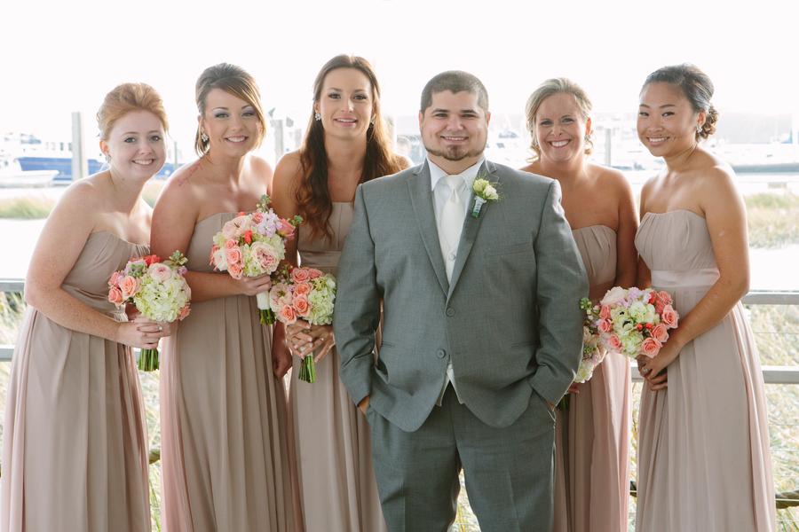 Bridesaids in taupe at Charleston Yacht Club wedding by Stacy Howell Photography