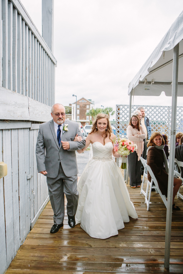Bride and her Father walking down the aisle at Charleston Yacht Club wedding by Stacy Howell Photography