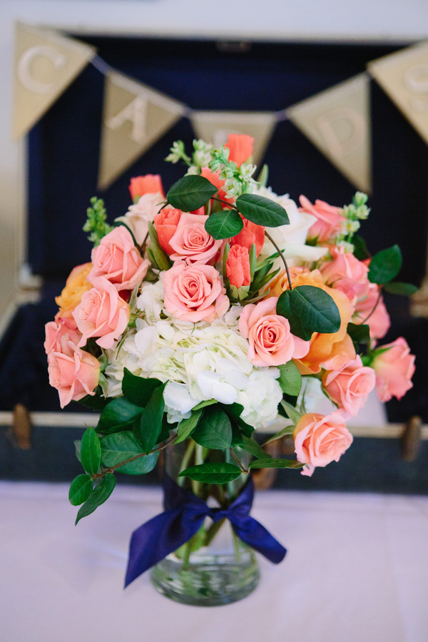 Rose Centerpiece at Charleston Yacht Club wedding by Stacy Howell Photography