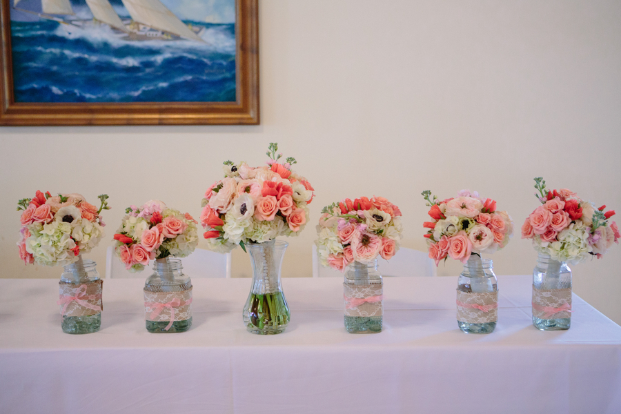 Bouquets at Wedding in Charleston, SC at Charleston Yacht Club by Stacy Howell Photography