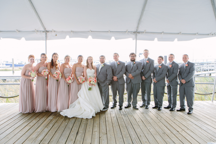 Bridal party in taupe at Wedding in Charleston, SC at Charleston Yacht Club by Stacy Howell Photography