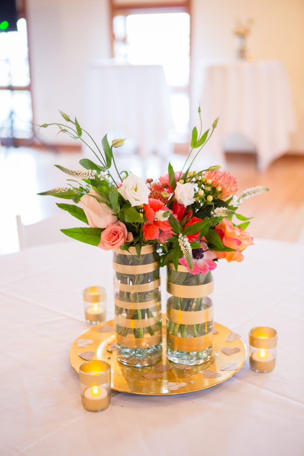 Gold Centerpieces at Wedding in Charleston, SC at Charleston Yacht Club by Stacy Howell Photography