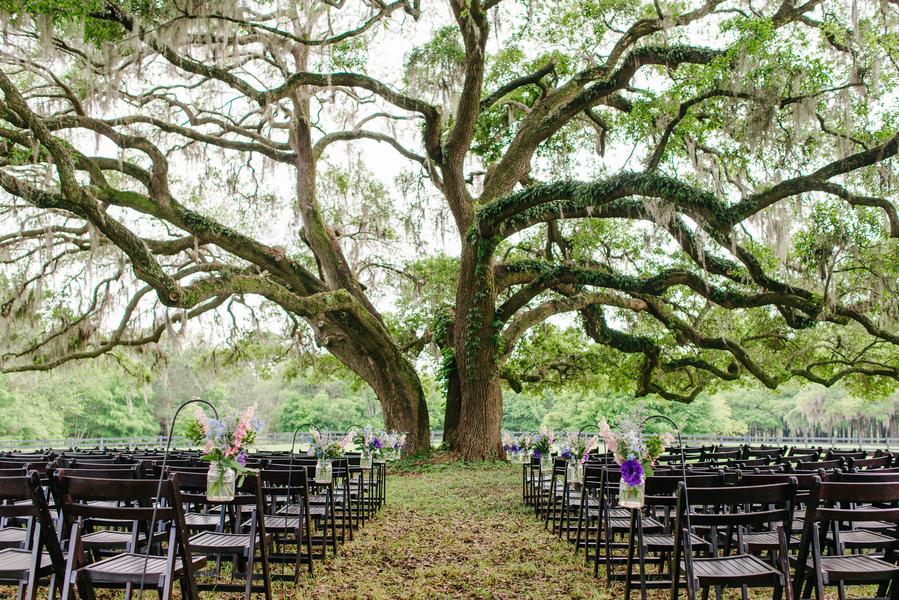 Purple Charleston Wedding Ceremony at Boone Hall Plantation by Riverland Studios