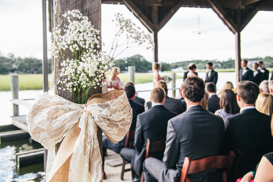 Pink Charleston Wedding Ceremony at Boone Hall Plantation by Riverland Studios