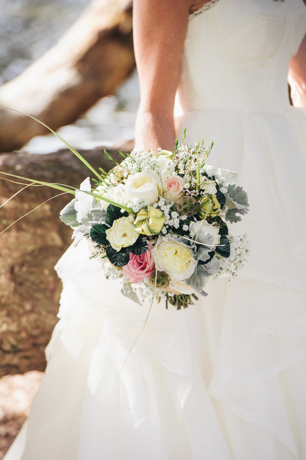 Pink Charleston Wedding Bouquet at Boone Hall Plantation by Riverland Studios
