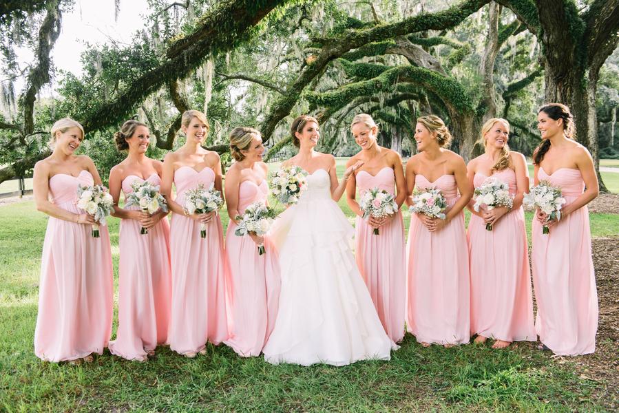 Pink Bridesmaids dresses at Charleston Wedding at Boone Hall Plantation by The Burlap Elephant