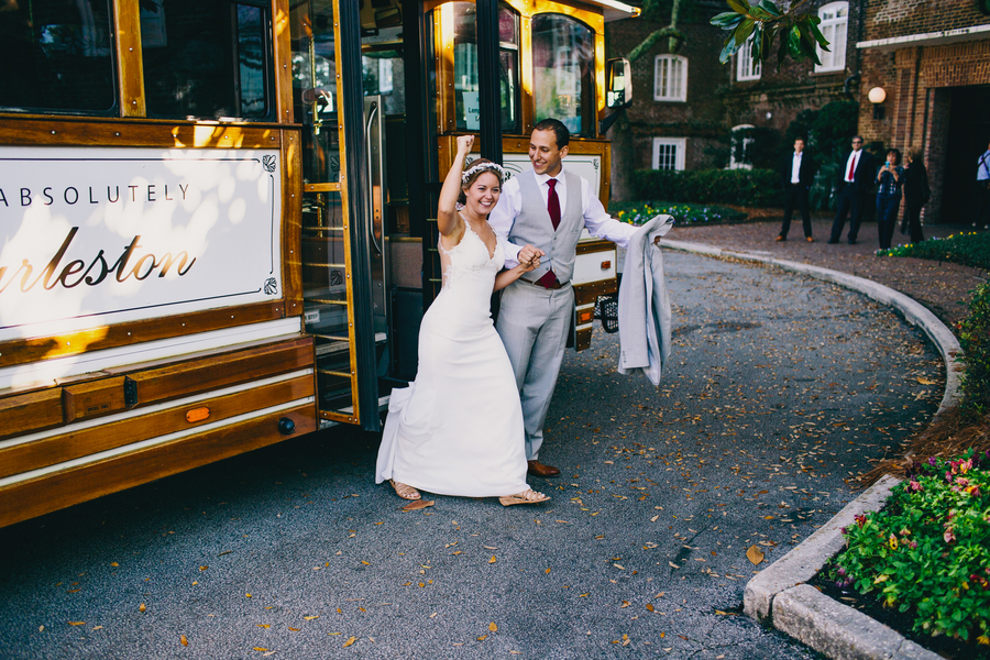Charleston wedding trolley at The Rice Mill Building by Hyer Images