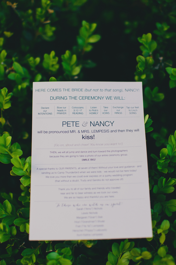 Charleston wedding program at The Rice Mill Building by Hyer Images