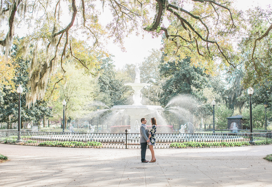 Katie + Ramsey's Savannah Wedding Engagement at Forsyth Park by Chloe Giancola Photography