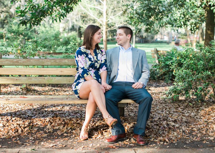 Katie + Ramsey's Savannah Wedding Engagement at Forsyth Park