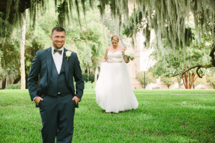 Jocelyn + Greg's First Look at Destination Wedding at Jekyll Island Club Hotel by Wild Cotton Photography