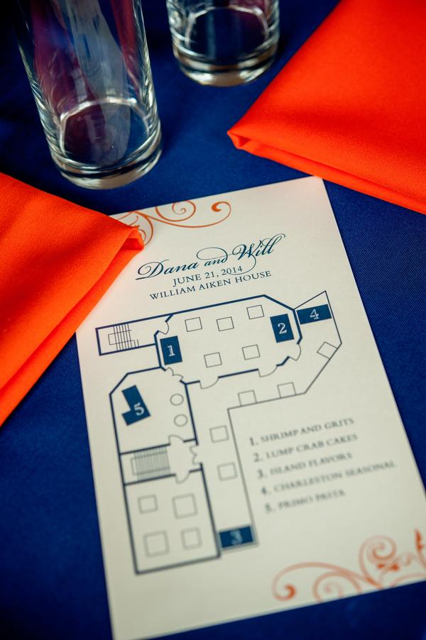 Will + Dana's Navy, yellow and orange William Aiken House wedding in Charleston, Sc by Rick Dean Photography