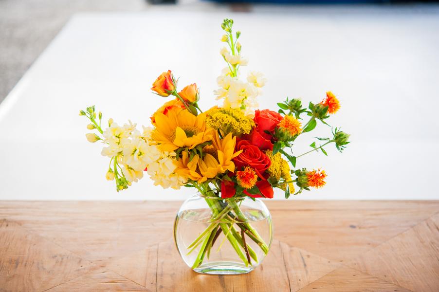 Orange and Yellow Centerpiece at William Aiken House Wedding