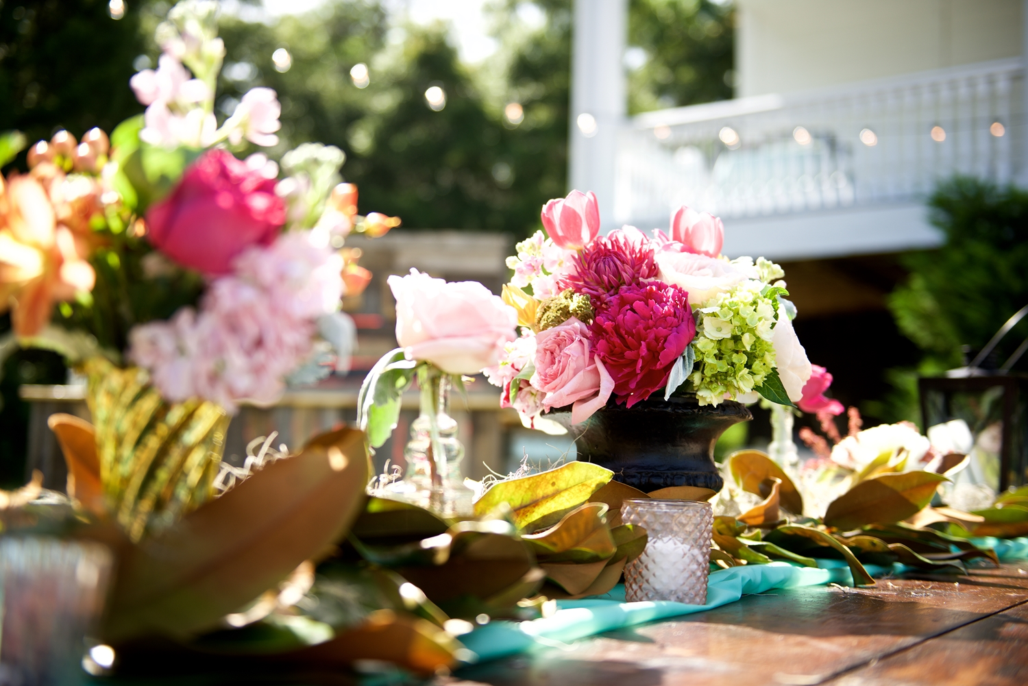 Pink Peony centerpieces by Ok Florist at Christine Kohler + Brook Bristow's Charleston wedding at Old Wide Awake Plantation