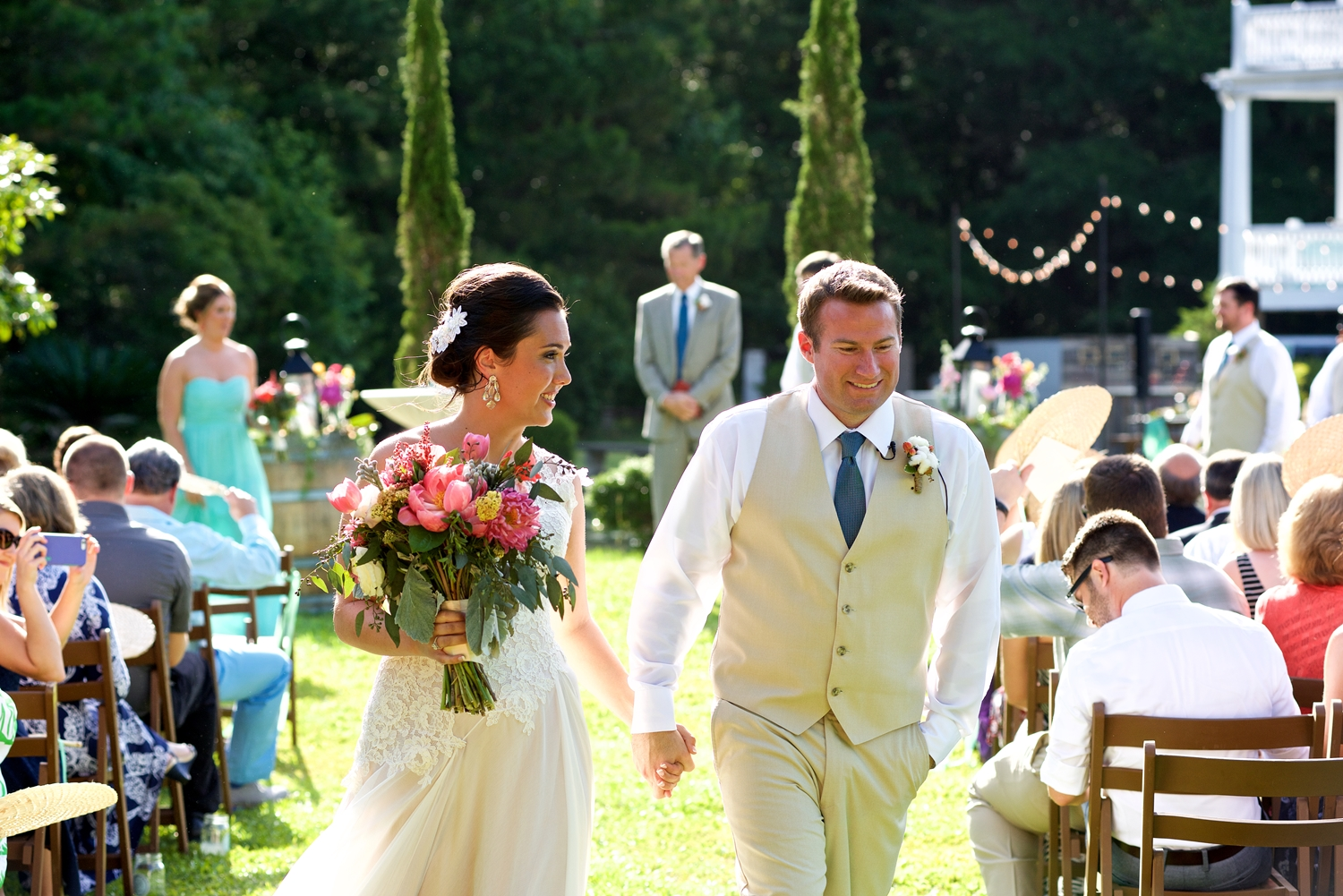 Christine Kohler + Brook Bristow's Outdoor wedding ceremony at Old Wide Awake Plantation