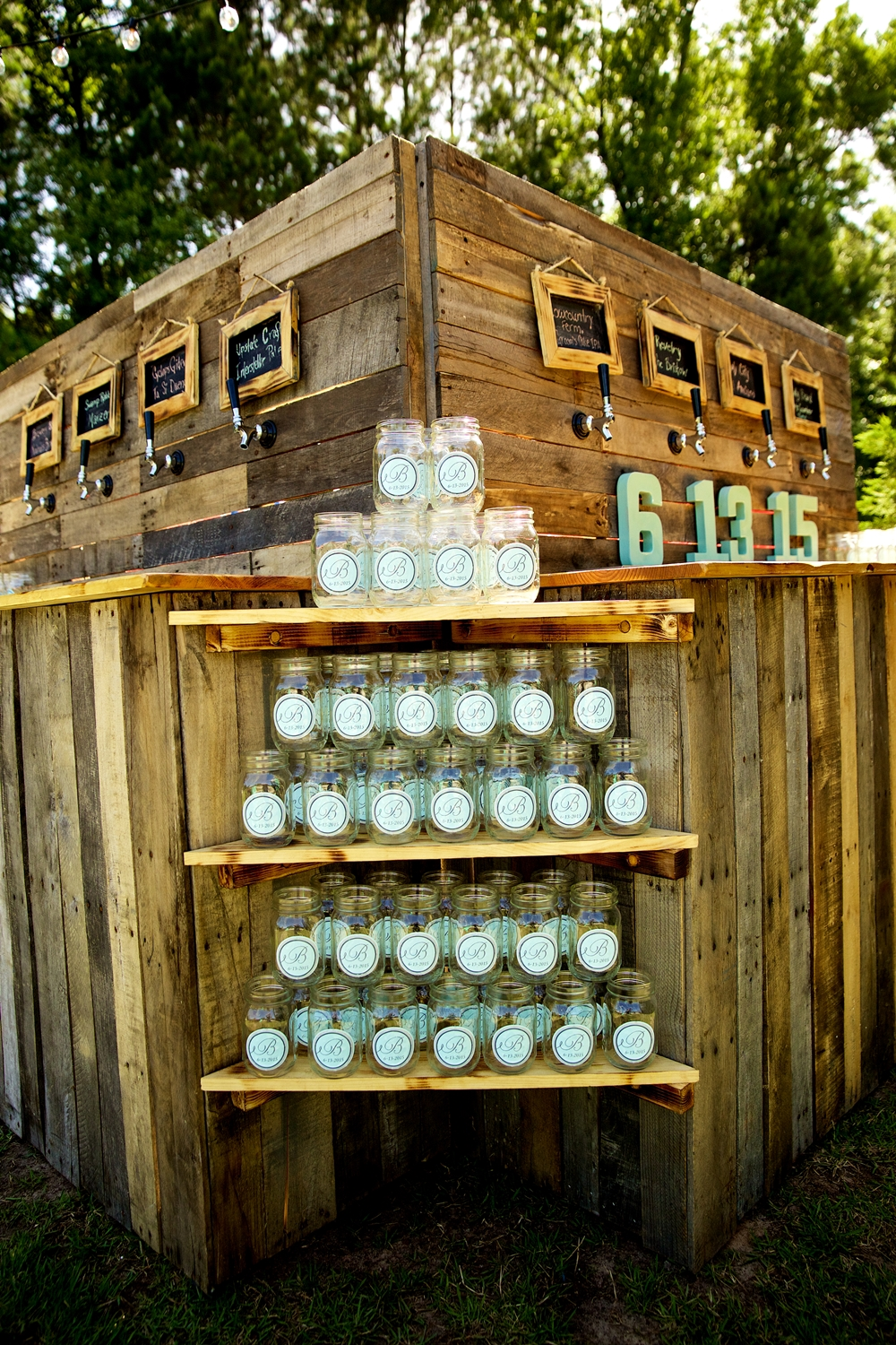 Beers on Tap from Revelry Brewing Co. at Christine Kohler + Brook Bristow's Summer Old Wide Awake Plantation wedding in Charleston, Sc