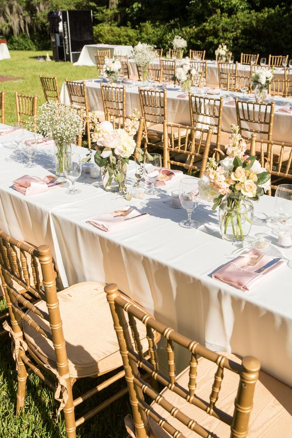 Open-air reception at Magnolia Plantation and Gardens wedding