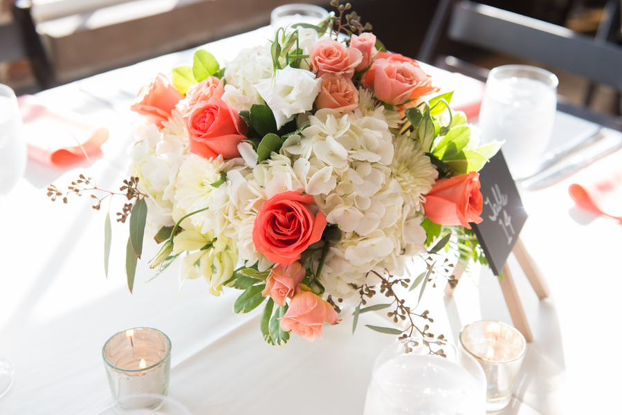 Rice Mill Building Wedding Coral Rose Centerpieces