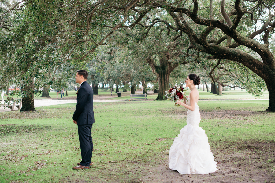 Charleston Wedding Elopement First Look at The Citadel by Whimsey Photography