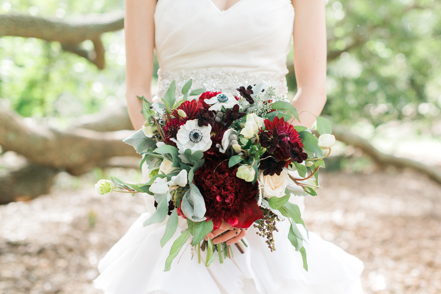 Winter Charleston Wedding Bouquet with red peonies by Charleston flower market