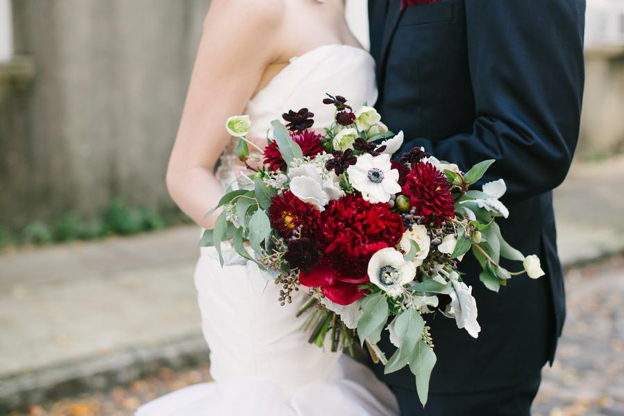 Dark Red Charleston Wedding bouquet by Charleston Flower Market
