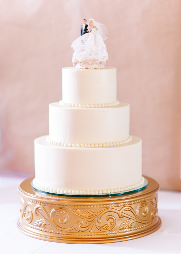 Timeless White Cake from Pine Lakes Country Club Wedding in Myrtle Beach