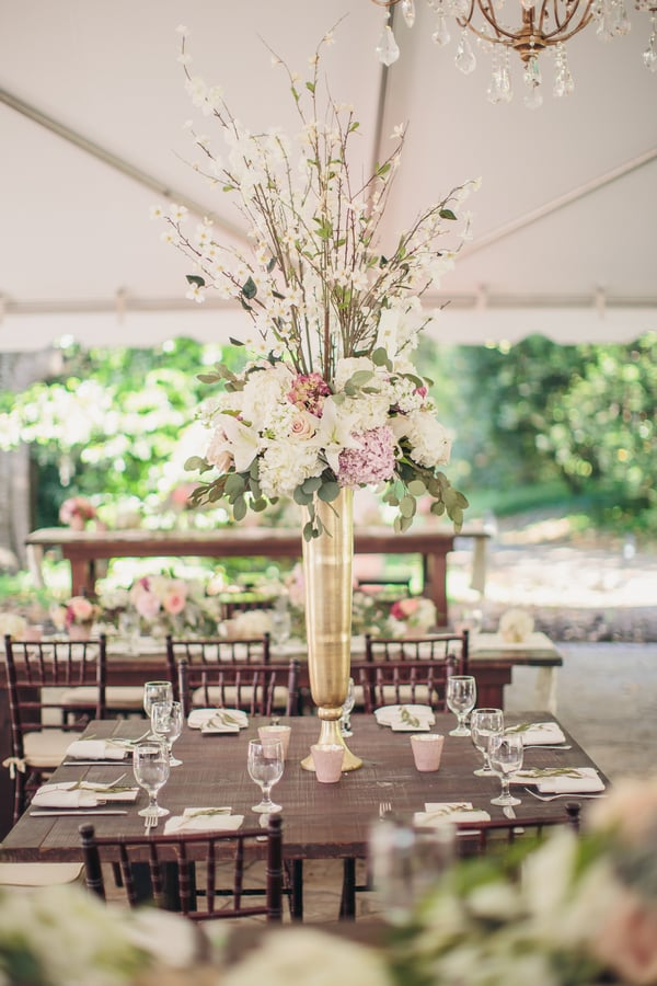 Romantic Hydrangea centerpieces with flowering branches by JWWeddings & Events at Charleston wedding at Legare Waring House