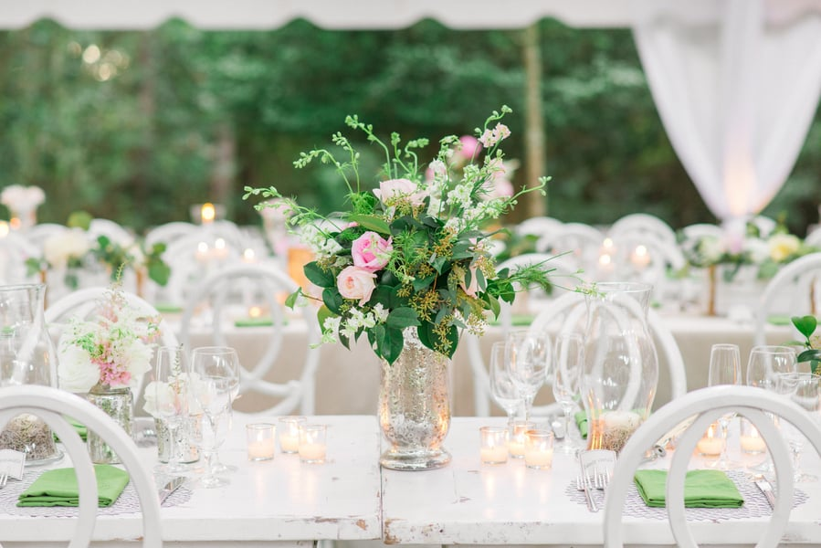 Romantic garden-style centerpieces from Miele Events at Legare Waring HOuse wedidng in Charleston, SC