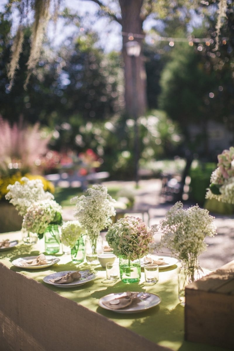 Baby's Breath and Hydrangea centerpieces from Rebecca + John's Caledonia Golf Course wedding by Paula Player Photography