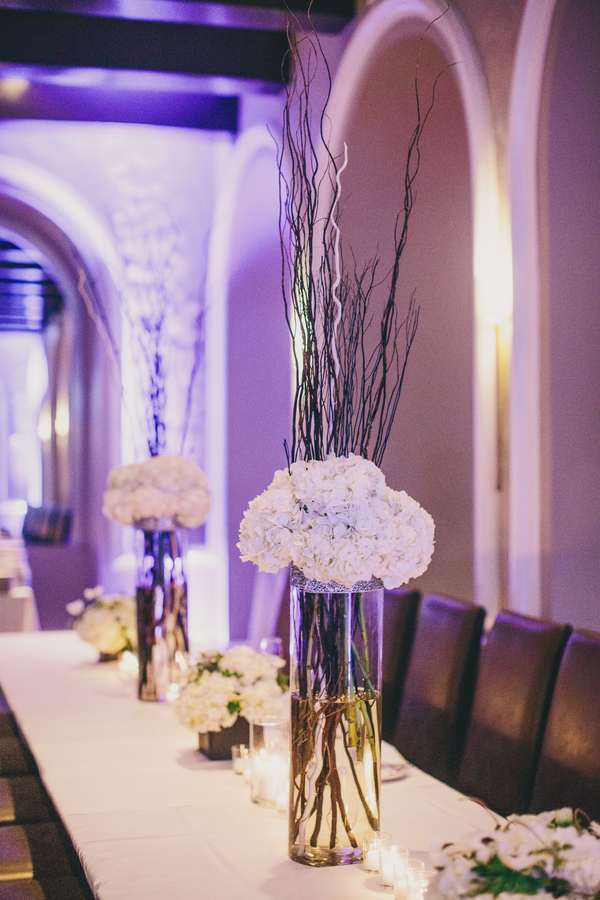 White Hydrangea Centerpieces at Mills House Hotel wedding
