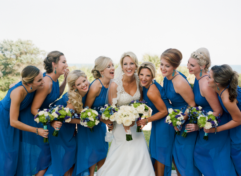 Blue bridesmaids dresses at Grande Dunes Ocean Club wedding in Myrtle Beach, South Carolina
