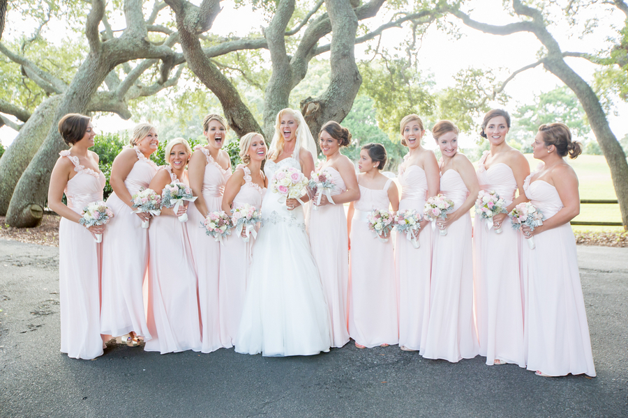 Pink Bridesmaids Dresses at Kristel + Justin's Dunes Beach and Golf Club wedding by Brooke Christl Photography.