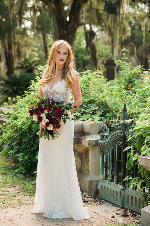 Black and Gold Haunted Elegance Wedding Inspiration in Savannah, Georgia by Ivory + Beau